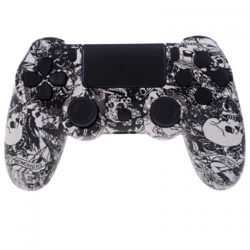 PS4 Controllergehäuse inkl. Mod Kit - Grave White Skulls